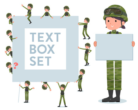 A set of Army women with a message board.Since each is divided, you can move it freely.It's vector art so it's easy to edit.