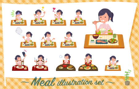 A set of chiropractor women about meals.Japanese and Chinese cuisine, Western style dishes and so on.Its vector art so its easy to edit.