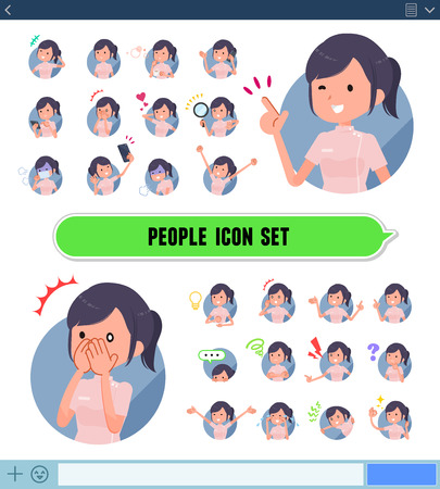 A set of chiropractor women with expresses various emotions on the SNS screen.There are variations of emotions such as joy and sadness.Its vector art so its easy to edit.  イラスト・ベクター素材