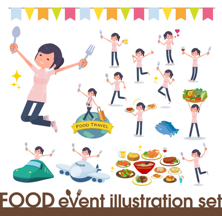 A set of chiropractor women on food events.There are actions that have a fork and a spoon and are having fun.Its vector art so its easy to edit.  イラスト・ベクター素材