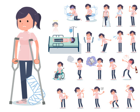 A set of chiropractor women with injury and illness.There are actions that express dependence and death.Its vector art so its easy to edit.