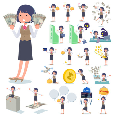 A set of women with concerning money and economy.There are also actions on success and failure.It's vector art so it's easy to edit. Vecteurs