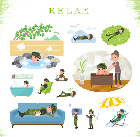 A set of Army women about relaxing.There are actions such as vacation and stress relief.Its vector art so its easy to edit.