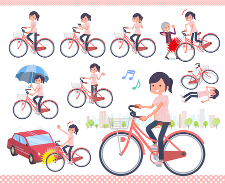 A set of chiropractor women riding a city cycle.There are actions on manners and troubles.Its vector art so its easy to edit.