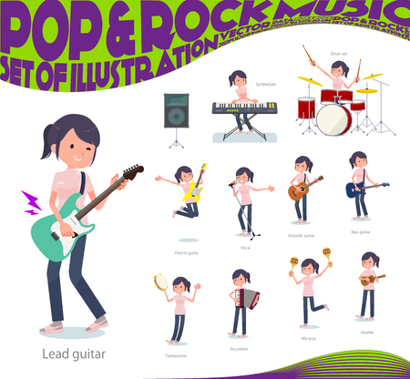 A set of chiropractor women playing rock n roll and pop music.There are also various instruments such as ukulele and tambourine.Its vector art so its easy to edit.  イラスト・ベクター素材