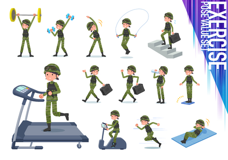 A set of Army women on exercise and sports.There are various actions to move the body healthy.It's vector art so it's easy to edit. Ilustração