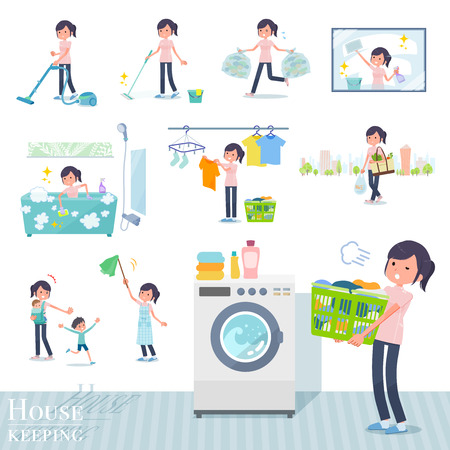 A set of chiropractor women related to housekeeping such as cleaning and laundry.There are various actions such as child rearing.Its vector art so its easy to edit.