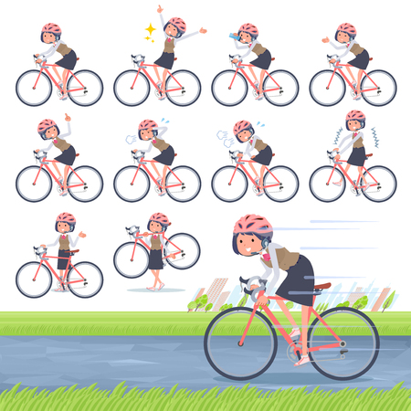 A set of women on a road bike.There is an action that is enjoying.It's vector art so it's easy to edit.