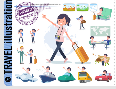 A set of chiropractor women on travel.There are also vehicles such as boats and airplanes.Its vector art so its easy to edit.  イラスト・ベクター素材