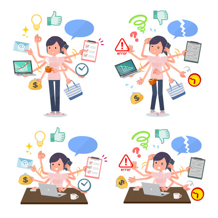 A set of chiropractor women who perform multitasking in the office.There are things to do smoothly and a pattern that is in a panic.Its vector art so its easy to edit. Illustration