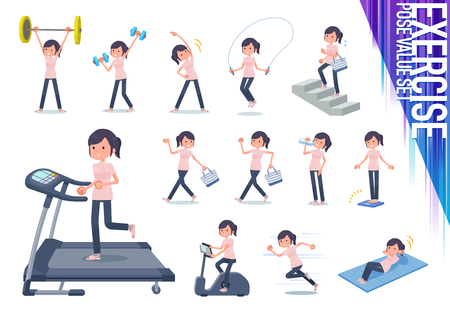 A set of chiropractor women on exercise and sports.There are various actions to move the body healthy.Its vector art so its easy to edit.