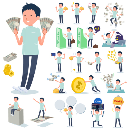A set of chiropractor man with concerning money and economy.There are also actions on success and failure.Its vector art so its easy to edit.  イラスト・ベクター素材