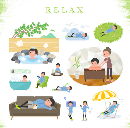 A set of men in sportswear about relaxing.There are actions such as vacation and stress relief.Its vector art so its easy to edit.