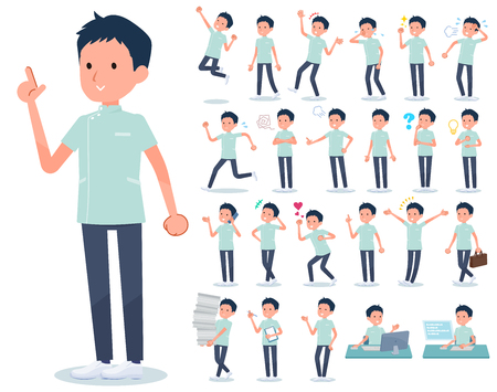 A set of chiropractor man with who express various emotions.There are actions related to workplaces and personal computers.It's vector art so it's easy to edit.