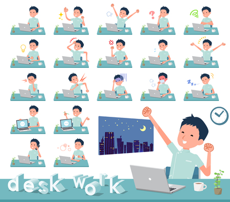 A set of chiropractor man on desk work.There are various actions such as feelings and fatigue.Its vector art so its easy to edit. Illustration