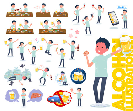 A set of chiropractor man related to alcohol.There is a lively appearance and action that expresses failure about alcohol.Its vector art so its easy to edit.  イラスト・ベクター素材