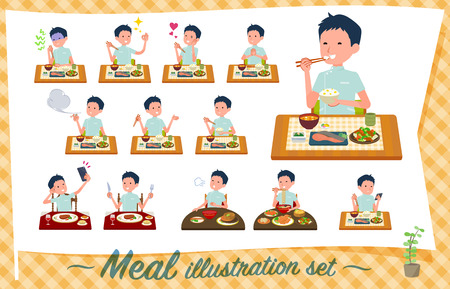 A set of chiropractor man about meals.Japanese and Chinese cuisine, Western style dishes and so on.Its vector art so its easy to edit.