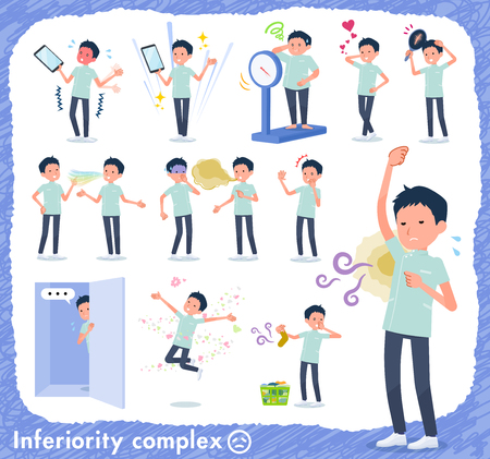 A set of chiropractor man on inferiority complex.There are actions suffering from smell and appearance.Its vector art so its easy to edit.