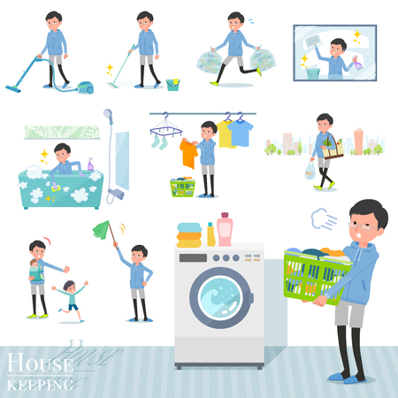 A set of men in sportswear related to housekeeping such as cleaning and laundry.There are various actions such as child rearing.It's vector art so it's easy to edit.
