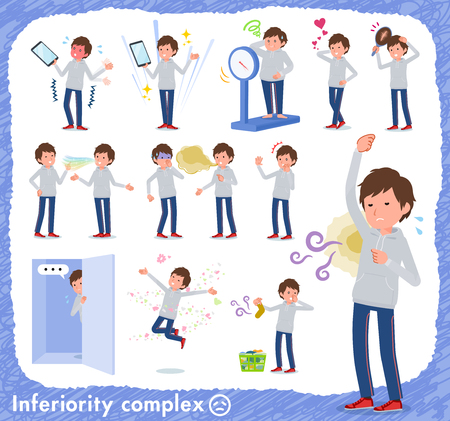 A set of men in sportswear on inferiority complex.There are actions suffering from smell and appearance.It's vector art so it's easy to edit.