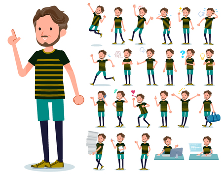 A set of Middle-aged man in sportswear with who express various emotions.There are actions related to workplaces and personal computers.Its vector art so its easy to edit. Illustration