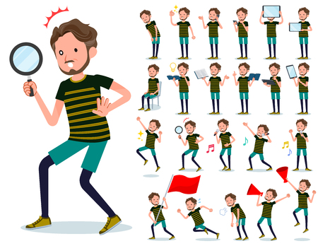 A set of Middle-aged man in sportswear with digital equipment such as smartphones.There are actions that express emotions.Its vector art so its easy to edit. Illustration
