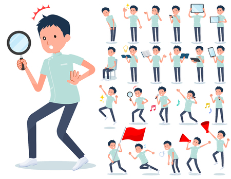 A set of chiropractor man with digital equipment such as smartphones.There are actions that express emotions.Its vector art so its easy to edit.  イラスト・ベクター素材