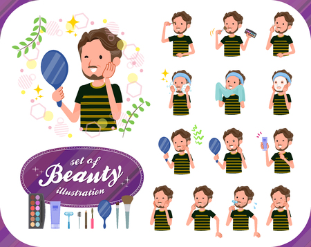A set of Middle-aged man in sportswear on beauty.There are various actions such as skin care and makeup.It's vector art so it's easy to edit. 向量圖像