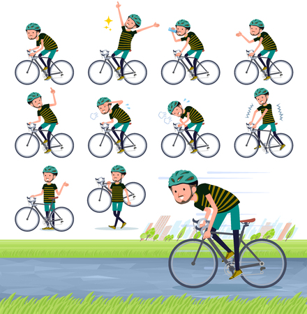 A set of Middle-aged man in sportswear on a road bike.There is an action that is enjoying.It's vector art so it's easy to edit. Çizim