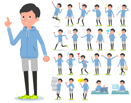 A set of men in sportswear with who express various emotions.There are actions related to workplaces and personal computers.It's vector art so it's easy to edit. Stock Illustratie