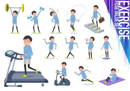 A set of men in sportswear on exercise and sports.There are various actions to move the body healthy.It's vector art so it's easy to edit. Illusztráció