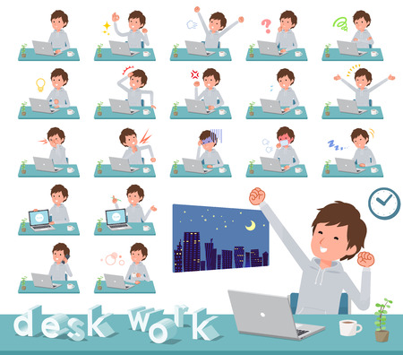 A set of men in sportswear on desk work.There are various actions such as feelings and fatigue.It's vector art so it's easy to edit.