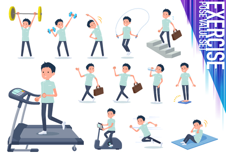 A set of chiropractor man on exercise and sports.There are various actions to move the body healthy.Its vector art so its easy to edit. Illustration