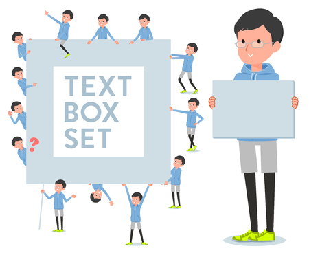 A set of men in sportswear with a message board.Since each is divided, you can move it freely.It's vector art so it's easy to edit. Ilustração