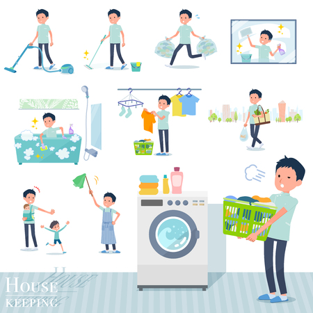 A set of chiropractor man related to housekeeping such as cleaning and laundry.There are various actions such as child rearing.Its vector art so its easy to edit.  イラスト・ベクター素材