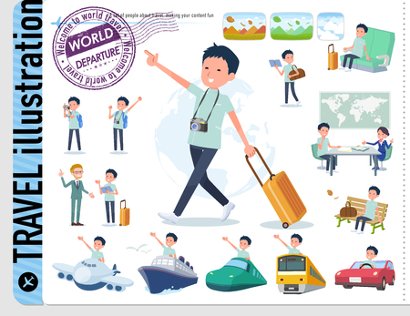 A set of chiropractor man on travel.There are also vehicles such as boats and airplanes.Its vector art so its easy to edit.