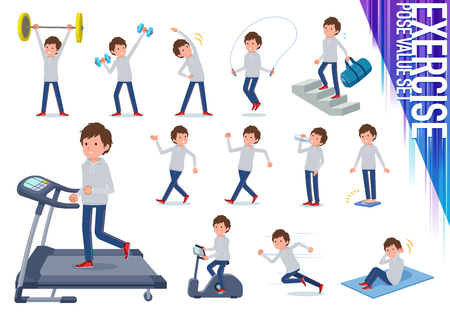 A set of men in sportswear on exercise and sports.There are various actions to move the body healthy.It's vector art so it's easy to edit.