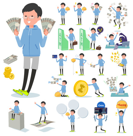 A set of men in sportswear with concerning money and economy.There are also actions on success and failure.It's vector art so it's easy to edit. Иллюстрация
