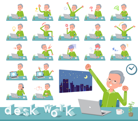 A set of old men in sportswear on desk work.There are various actions such as feelings and fatigue.It's vector art so it's easy to edit.