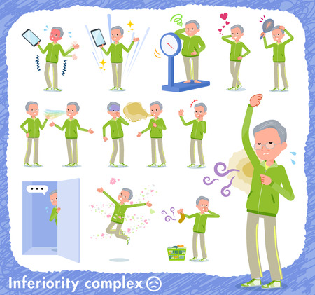 A set of old men in sportswear on inferiority complex.There are actions suffering from smell and appearance.It's vector art so it's easy to edit.