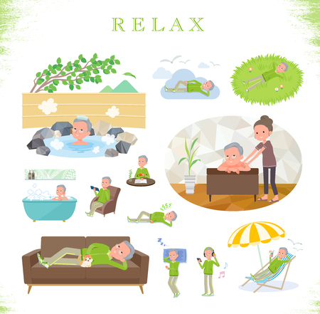 A set of old men in sportswear about relaxing.There are actions such as vacation and stress relief.It's vector art so it's easy to edit.