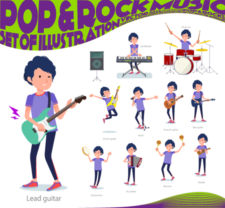 A set of man in sportswear playing rock 'n' roll and pop music.There are also various instruments such as ukulele and tambourine.It's vector art so it's easy to edit. Stock Illustratie