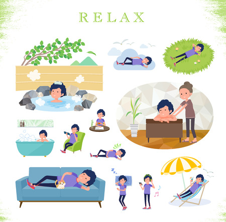 A set of man in sportswear about relaxing.There are actions such as vacation and stress relief.It's vector art so it's easy to edit.