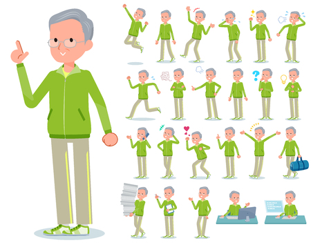 A set of old men in sportswear with who express various emotions.There are actions related to workplaces and personal computers.Its vector art so its easy to edit. Illustration