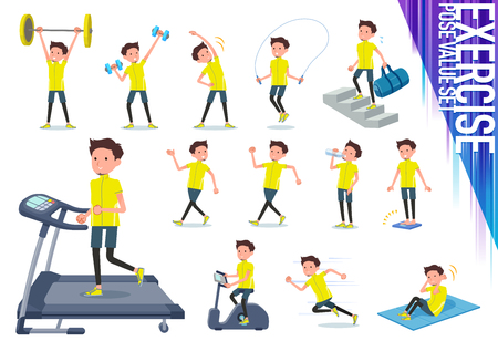 A set of man in sportswear on exercise and sports.There are various actions to move the body healthy.It's vector art so it's easy to edit.