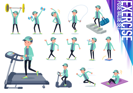 A set of men in sportswear on exercise and sports.There are various actions to move the body healthy.Its vector art so its easy to edit.