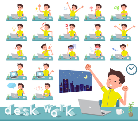 A set of man in sportswear on desk work.There are various actions such as feelings and fatigue.Its vector art so its easy to edit.