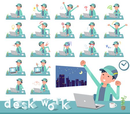 A set of men in sportswear on desk work.There are various actions such as feelings and fatigue.Its vector art so its easy to edit. 向量圖像