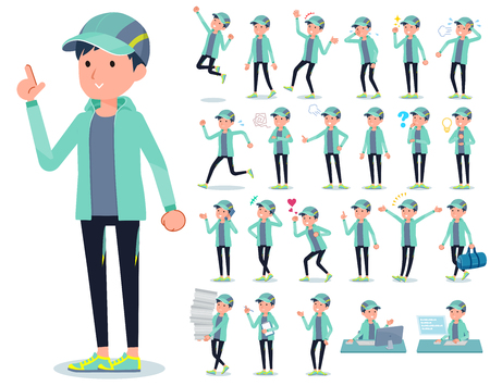A set of men in sportswear with who express various emotions.There are actions related to workplaces and personal computers.It's vector art so it's easy to edit. Illustration