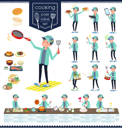 A set of men in sportswear about cooking.There are actions that are cooking in various ways in the kitchen.It's vector art so it's easy to edit.